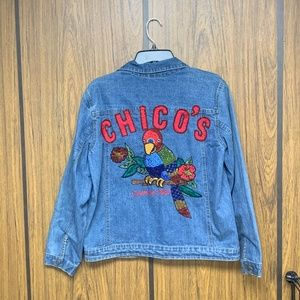 Chico's VINTAGE Beaded Parrot Denim Jean Jacket